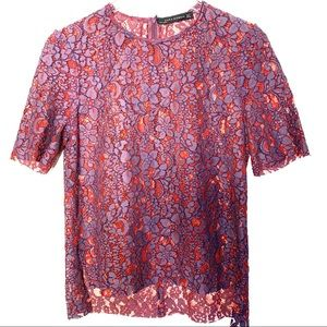 Zara Red and Purple Lace Top unlined zip back